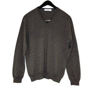 Ermenegildo Zegna brown 100% wool V-neck sweater